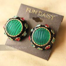 New Arrival Fun Daisy Bohemian Mixed Gem Red Green 30mm Stud Earrings