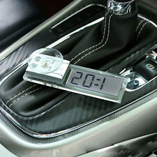 Digital LCD Adsorption Small Clock Dashboard Auto Car Clock Button Battery New