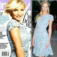 $5980 VALENTINO Embroidered Blue Macrame Lace Runway Cocktail Dress US 6 / IT 42