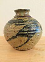 "Vtg Mid-Century Art Pottery STONEWARE BEEHIVE VASE:Turned & Handpainted 6 1/2""H"