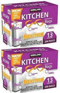 2 Packs Kirkland Signature Flex-Tech Kitchen Trash Bags 13 Gallon 200 CT