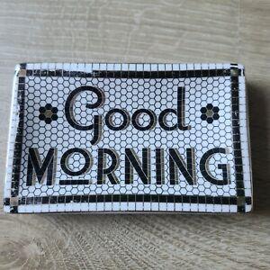 Anthropologie GOOD MORNING Bistro Tile Soap Trinket Dish Checkered Black White