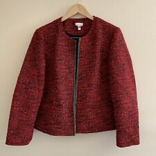 Chico's Size 2 Large Red Tweed Blazer Open Front Jacket Textured Embellished