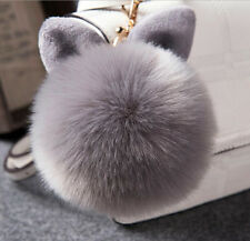 Girls Cute Fluffy Bunny Pompom Keychain Bag Rabbit Ear Fur Ball Pendant Keychain