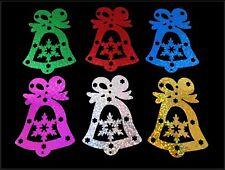 edle Glocken 8 cm - 6 Farben beidseitig irisierend - Weihnachten Karten Basteln