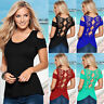 Fashion Women Sexy Summer Short Sleeve Lace Blouse Casual Tops T-Shirt Blouse