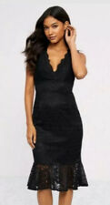 New Lipsy @ Next Size 12 Black Lace Flute Hem Bodycon Dress Cocktail Cruise