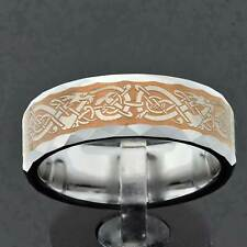 Tungsten Brown Gold Plated Celtic Dragon Band Women Wedding Ring Jewelry 6/8mm