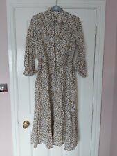D22 WOMANS PER UNA BEIGE MIX FLORAL LONG SLEEVE BUTTON UP BELTED DRESS UK 14