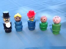 Vintage Wooden Fisher Price Little People cowboy, lady, 2 boys, man with tophat