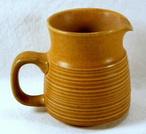 VINTAGE LANGLEY POTTERY CREAMER Brown with Grooved Pattern.ENGLAND Windmill Mark