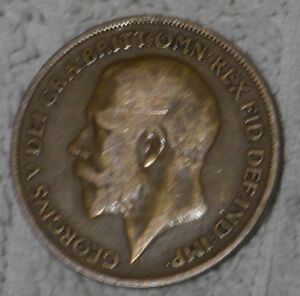 RARE! OLD ENGLISH COIN - KING GEORGE V ONE PENNY PIECE - from 1920 [NE]