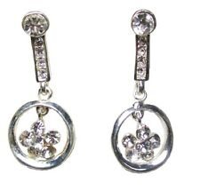 Silver Flower Clip on Stud Drop Earrings Pearl Crystal Diamante Dress Jewellery 8 - 4.5 X 1.8cm