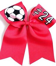 Soccer ball with number Hair Bow Can customize!.  Free personalization!