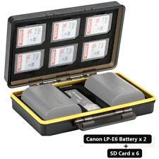 JJC 2 x Canon LP-E6/LP-E6N Camera Battery & 6 x SD Card Storage Case Holder