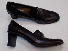 9.5 M Aerosoles Black Leather Ladies Shoes Loafers Womens High Heels Stacked 9.5
