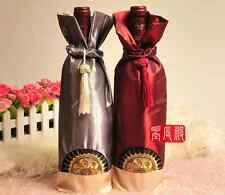 10pcs New Chinese silk pouch wine bottle cover satin wine bag WB0001