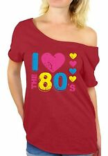 I Love the 80's Off The Shoulder Tops T shirts Women's 80s Party Costume Disco