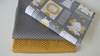 Öko-Tex Baumwollstoff  3 x 50 x 140/150 Tiere + Pünktchen grau + Sternchen mais