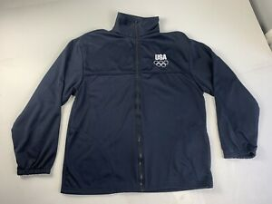 United States Olympic Committee Team USA Mens Size L Full Zip Up Black Jacket