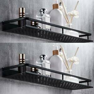 Wall Mounted Shelf 2 Floating Shelves Bathroom Kitchen Storage Rack Aluminum