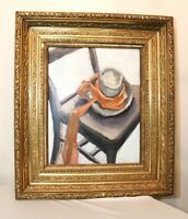 LARGE vintage orig. F. Perrutti abstract expressionism oil painting hat on chair