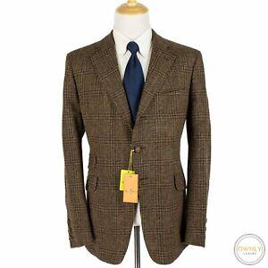 NWT Etro Brown Multi Wool Tweed Plaid Italy Top Stitch 3/2 Roll Jacket 46L