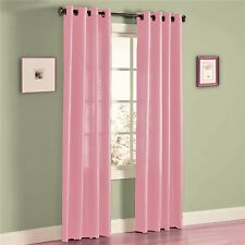"""TWO PANEL BABY  PINK WINDOW SILK 8 GROMMETS CURTAIN DRAPES TREATMENT H70 95"""""""