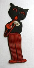 Rare 1940s Halloween Decoration w/ Black Cat Playing a Trumpet HE Luhrs Co