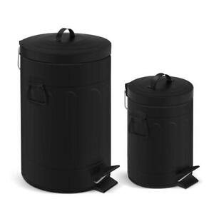 Old Time New York Style Step on Trash Can Set 3.2 Gal 0.8 Gal Round Black Metal