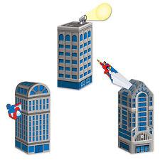 3 ct  SUPER HERO Skyscraper City Building Birthday Party Goodie Bag Favor Boxes
