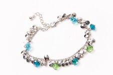 Blue Green&Silver Shiny Hanging Beads(T233) Fashionable Ladies Silver Bracelet w