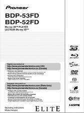 Pioneer BDP-53FD Blu-ray Player Owners Manual