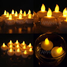 New 12PCS Amber Waterproof LED Floating Tea Light Flameless Candle Wedding Party