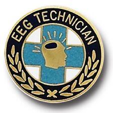 EEG Technician Lapel Pin Cloisonne Blue Cross Gold Plate 986 Brain Waves New
