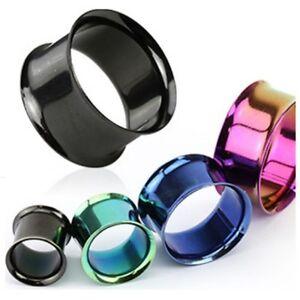 PAIR (2) Titanium Colors Double Flared Hollow EAR PLUGS Piercing Gauge Earrings
