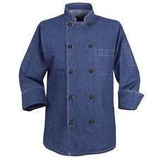 New Chef Designs Men Blue, Black Denim 100% Cotton Chef Coat Kd84 Size Xs