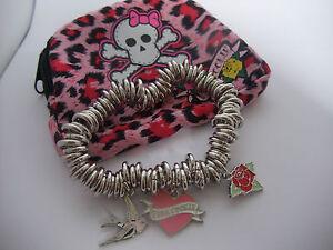 PINK COOKIE STRETCH 3 CHARM BRACELET & PURSE  pink heart, Rose, love bird, NEW