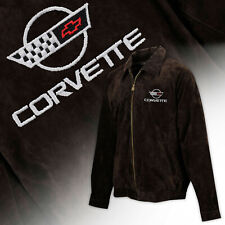 Mens C4 Corvette Logo Extra Long Suede Bomber Jacket BROWN 604818