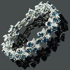 Rhinestone Glass Round Cut Blue Sapphire Tennis Statement Fashion Bracelet