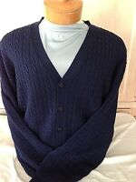 New NWT Pringle Wool Mens Navy Blue Cardigan Long Sleeve Sweater