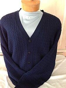 New NWT Pringle Wool Mens Navy Blue Cardigan Long Sleeve Sweater