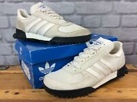 ADIDAS MENS UK 8 EU 42 MARATHON TR CHALK WHITE BLACK SUEDE MESH TRAINERS  EP