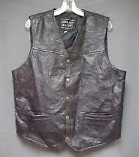 Navarre Leather Company Genuine Italian Stone Design Black Vest Mens Size Large