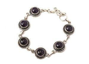 .925 STERLING SILVER Round AMETHYST Bezel Links Chain Toggle Bracelet, 16g - P13