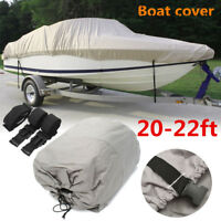 "Gray Waterproof Boat Cover 20-22 Ft Trailable 600D Heavy Duty V-Hull 100"" Beam"