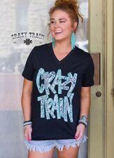 Crazy Train Snake Skin Python Promo Tee Turquoise Black V-neck T-shirt 3XL