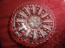 """Vintage Federal Glass Bead & Flag Pattern 8"""" Great Cheese Ball Plate"""