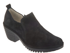 5*31 NEW Fly London Wate Black Oiled Suede Ankle Booties Women's Size 40