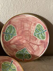 Jill Rosenwald pottery saucers gold edges Rose pattern set of 3